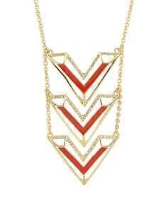 Rhinestone Triangle Long Meaningful Pendant Necklace