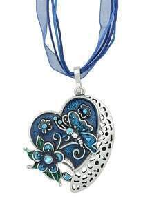 New Fashion Blue Enamel And Rhinestone Cute Heart Pendant Necklace