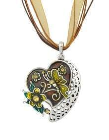 New Fashion Coffee Enamel And Rhinestone Cute Heart Pendant Necklace