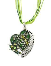 New Fashion Green Enamel And Rhinestone Cute Heart Pendant Necklace