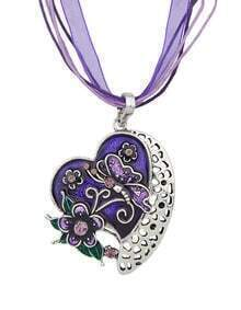 New Fashion Purple Enamel And Rhinestone Cute Heart Pendant Necklace