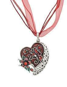 New Fashion Red Enamel And Rhinestone Cute Heart Pendant Necklace