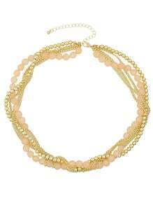 Pink Chain Braided Small Beads Necklace