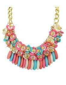 Bohemian Style Colorful Hanging Stone Chunky Statement Neckalce