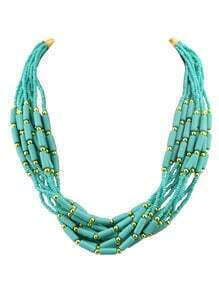 Bohemian Style Multilayers Blue Small Beads Necklace