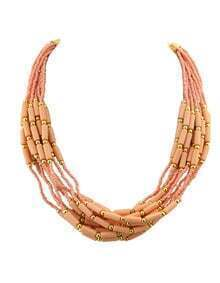 Bohemian Style Multilayers Pink Small Beads Necklace
