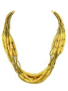 Bohemian Style Multilayers Yellow Small Beads Necklace