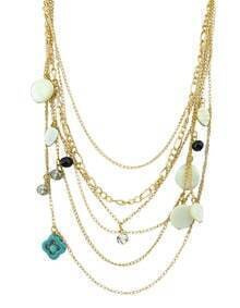 Bohemian Style Gold Plated Multilayers Different Pendants Latest Design Chain Necklace