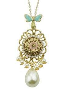 Pearl Flower Pendant Long Necklace