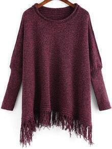 Burgundy Round Neck Tassel Loose Sweater