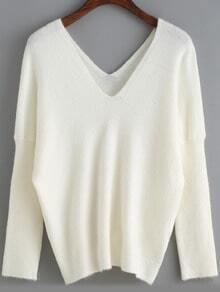 White V Neck Long Sleeve Loose Sweater