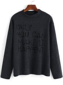 Grey Stand Collar Letters Embroidered Knitwear