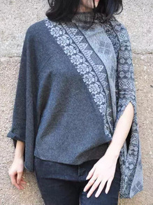 Blue Mock Neck Tribal Embroidered Cape