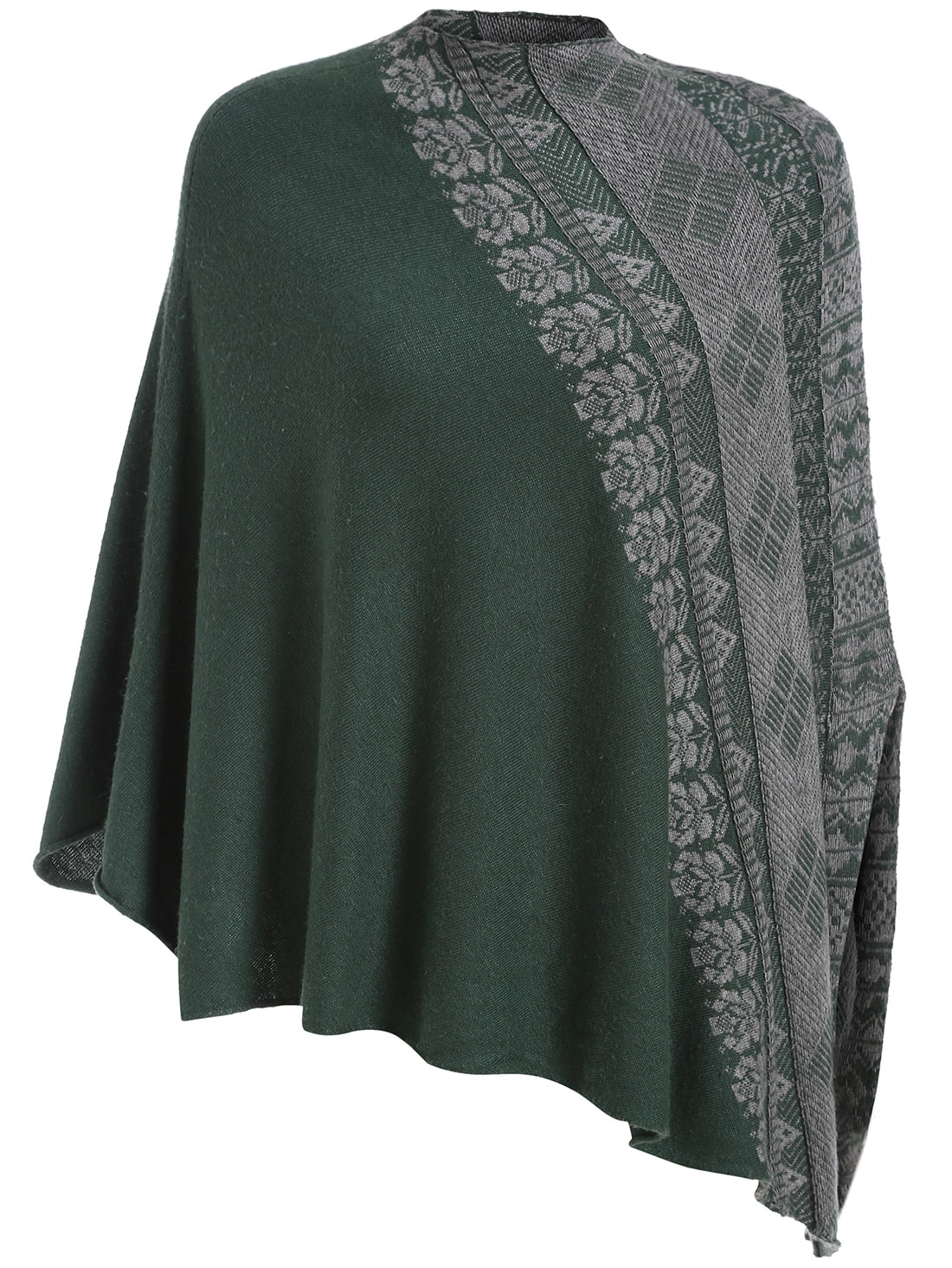 Green Mock Neck Tribal Embroidered Cape -SheIn(Sheinside)