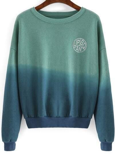 Green Blue Ombre Round Neck Crop Sweatshirt