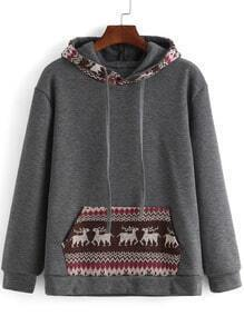 Grey Hooded Long Sleeve Deer Print Sweatshirt