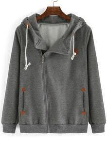 Grey Hooded Oblique Zipper Loose Sweatshirt