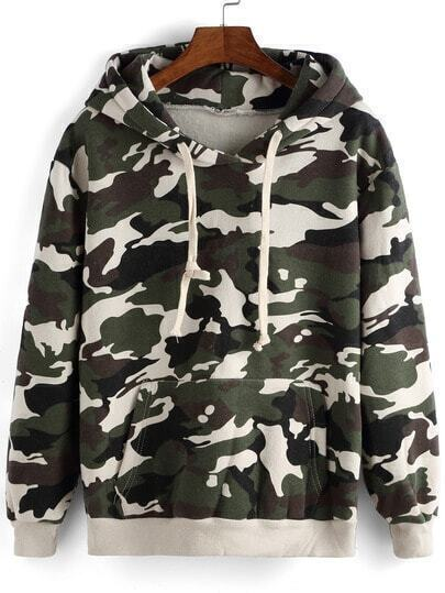 Green Hooded Camouflage Print Loose Sweatshirt