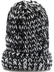 Black White Chunky Knit Hat
