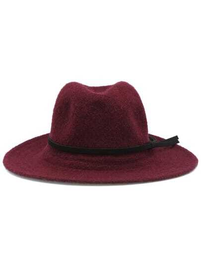 Red Leather Buckle Hat