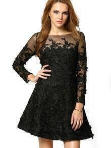 Black Round Neck Sheer Mesh Lace Dress