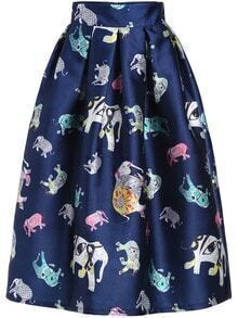 Colour Elephant Print Flare Skirt