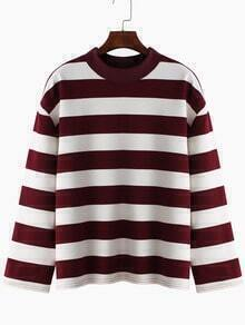 Burgundy White Round Neck Striped Loose T-Shirt