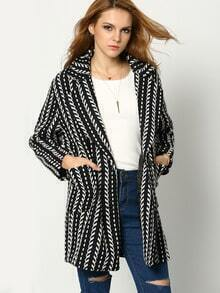 Black White Lapel Single Breasted Coat