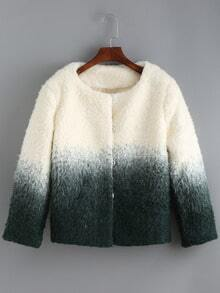 Green White Ombre Round Neck Crop Coat