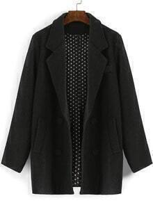 Dark Grey Lapel Double Breasted Woolen Coat