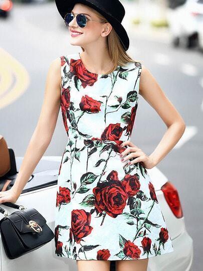Vestito smanicato a fiori multicolore immagini