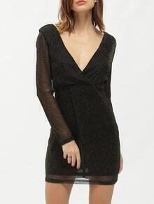 Black Long Sleeve Deep V Neck Bodycon Dress