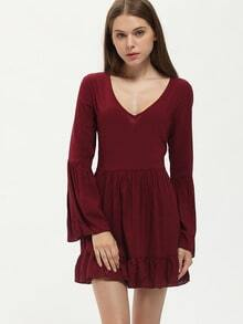Burgundy Long Sleeve Ruffle Dress