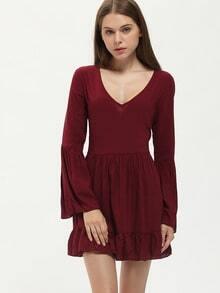 Burgundy Long Sleeve Ruffle Dress