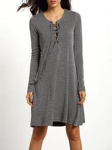 Grey Long Sleeve Lace Up Casual Dress