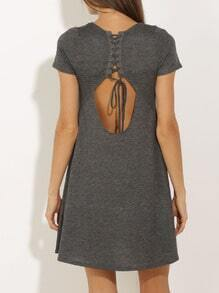 Grey Short Sleeve Lace Up Dress