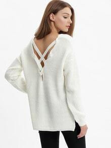 White V Neck Loose Sweater
