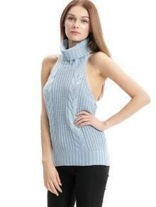 Blue Sleeveless High Neck Sweater