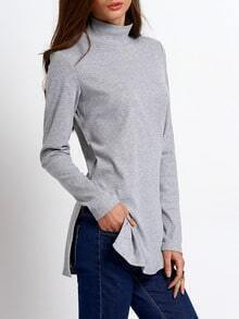 Grey High Neck Split T-Shirt