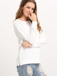 White Long Sleeve Split T-Shirt