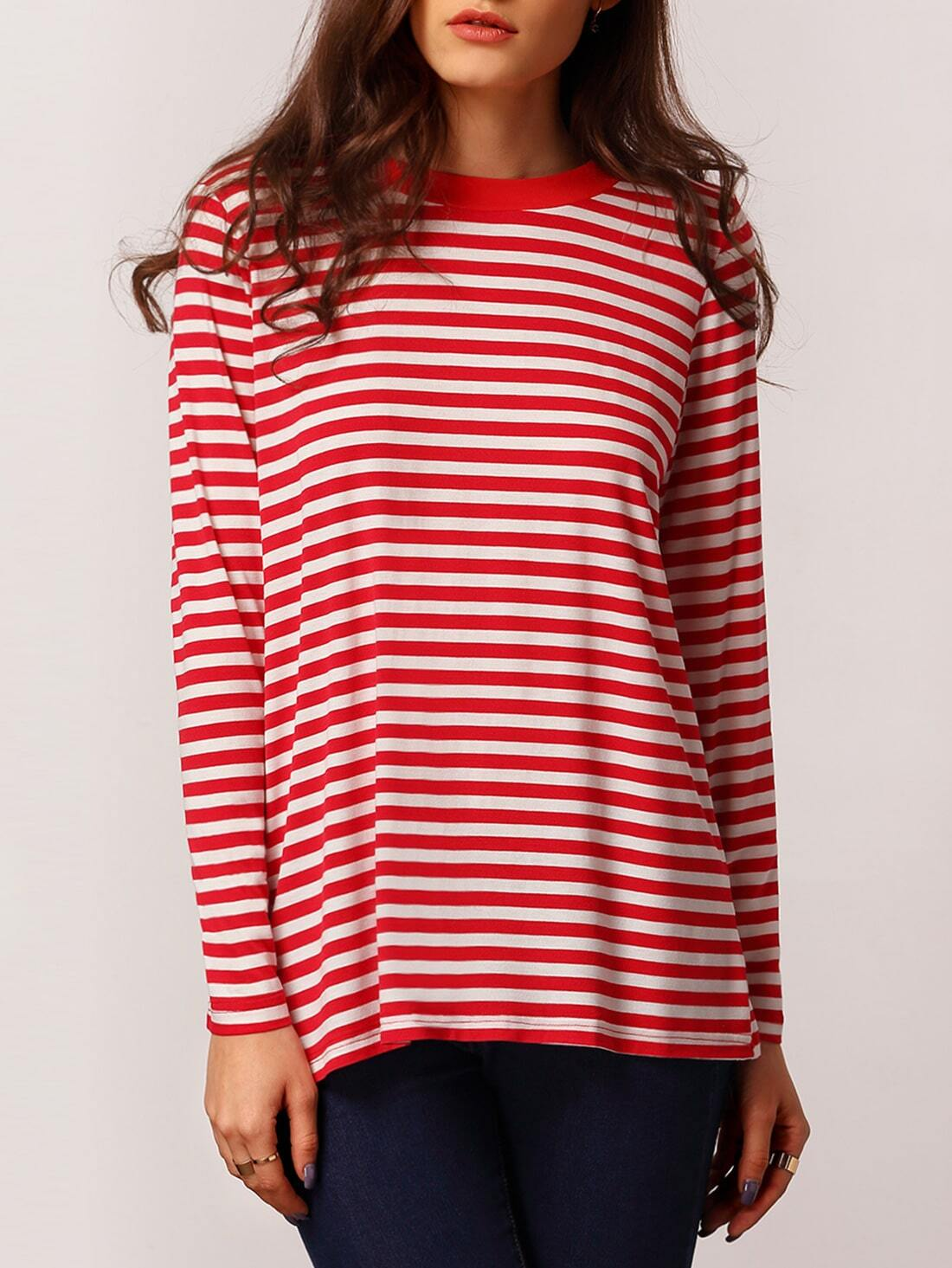 Red White Long Sleeve Striped T Shirt Shein Sheinside