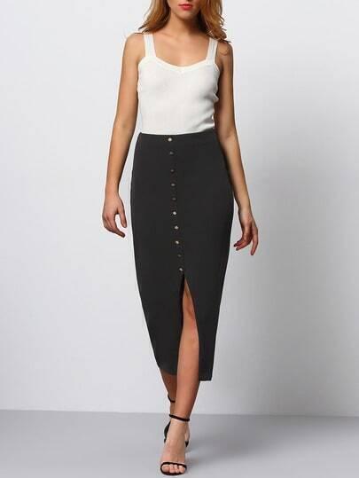 Jupe taille élastique avec boutons -noir photos