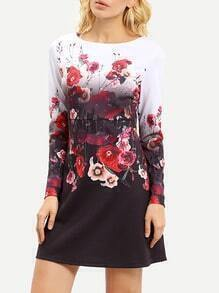 Multicolour Round Neck Floral Dress
