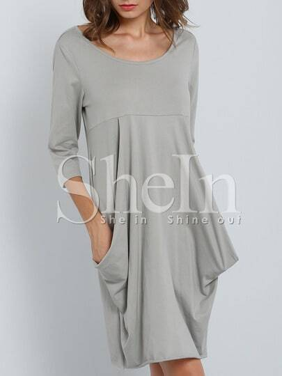 Grey Round Neck Pockets Dress