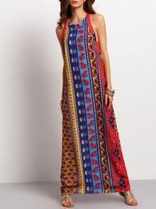 Multicolor Sleeveless Vintage Print Maxi Dress