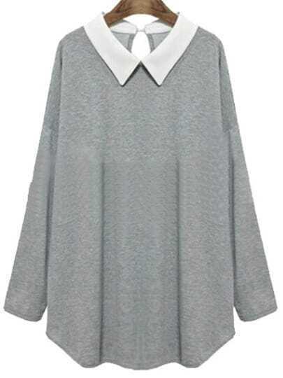 bergr e lose bluse mit wei em kragen grau german. Black Bedroom Furniture Sets. Home Design Ideas