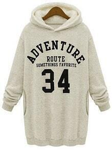 Beige Hooded Letters 34 Print Sweatshirt Dress