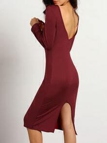 Burgundy Long Sleeve Backless Split Dress