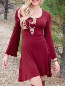 Red Scoop Neck Bell Sleeve Slim Dress