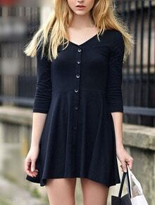 Black V Neck Buttons Slim Dress